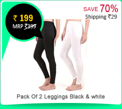 Pack Of 2Leggings Black & white at Rs.199