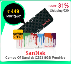 Combo Of Sandisk CZ53 8GB Pendrive (Black & White) at Rs.449