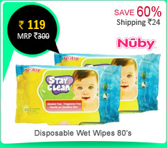 Nuby Disposable Wet Wipes 80's (Pack of 2) Rs. 119