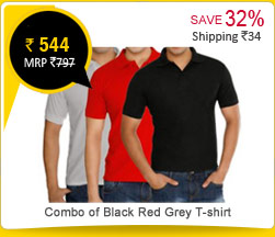 Combo of Black Red Grey JONNIE FRESH T-shirt Rs. 544