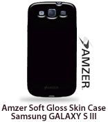 Amzer Soft Gel TPU Gloss Skin Case - Black for Samsung GALAXY S III (GT-I9300)