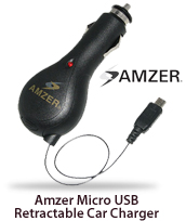 Amzer Micro USB Retractable Car Charger