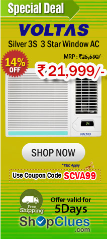 Voltas Silver 3S 1.5 Ton 3 Star Window AC judt Rs.21,999/-
