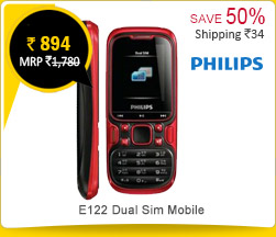 Philips E122 Dual Sim Mobile Phone - Red & Black Rs. 894