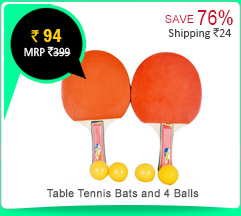 Table Tennis ( TT) Bats and 4 Tennis Balls  Rs. 94