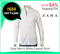 Zara Men's White Casual Shirt Rs. 654