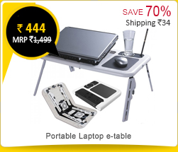 Portable Laptop e-table with USB cooling Fan Rs. 444