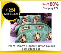 Dream Home's Elegant Printed Double Bed Sheet Set