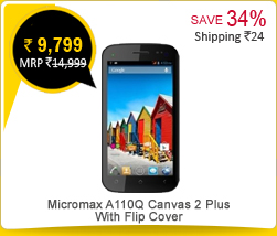 Micromax A110Q Canvas 2 Plus With Flip Cover