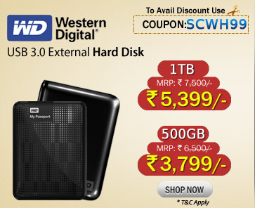 Western Digital 1 TB External Hard Drive Just Rs 5,399/- and 500GB just Rs 3,799/-  with Free Shipping