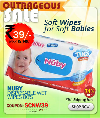 Nuby Disposable Wet Wipes 80's just rs. 39/-