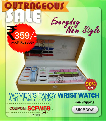 Womens Fancy Wrist Watch with 11 Dial + 11 Strap Options Just rs. 359/- with Free Shipping