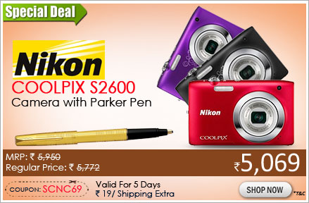 Nikon Coolpix S2600 Point & Shoot With Parker Gold Roller Ball Pen