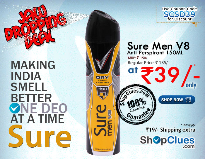The shopclues.com Jaw Dropping Deal on Sure men V8 anti perspirant 150ml  at Rs. 39/- Only