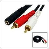 2 RCA Male To 3.5MM Stereo Female Audio Cable 2RCA GOLD PLATED HIGH QUALITY