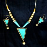 Green And Gold Terracotta Necklace Set
