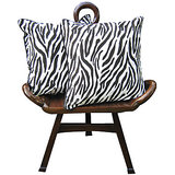 Elements Black N White Tiger Stripes Cushion Covers - Set Of 2 Pcs
