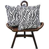 Elements Black N White Tiger Stripes Cushion Covers - Set Of 2 Pcs